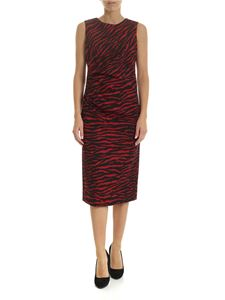 Parosh - Zebra printed midi dress in red and black