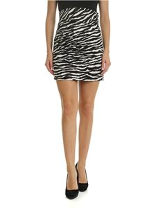 Parosh - Zebra printed skirt in black and ivory