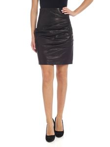 Parosh - Pleated skirt in black leather and jersey