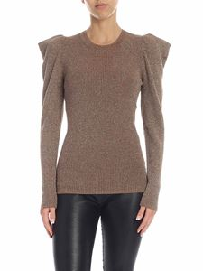 Parosh - Wool sweater in brown lamé