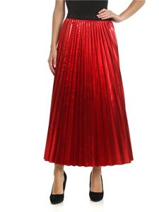 Parosh - Red pleated skirt with laminated effect
