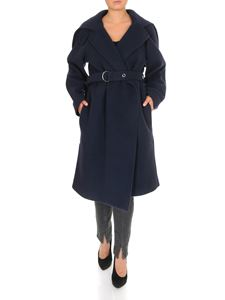 Chloé - Knee-length coat in Evening Blue color