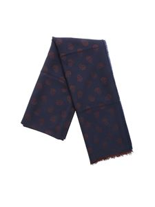 Alexander McQueen - Blue scarf with Skull embroidery