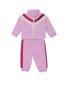 Moncler Jr - Pink chenille suit with logo