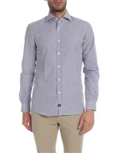 Fay - White and blue shirt with striped pattern