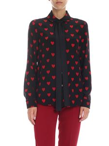 Red Valentino - Heart print silk shirt in black