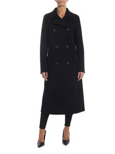 Harris Wharf London - Black coat in virgin wool cloth