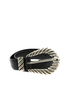 Alberta Ferretti - Black belt in reptile print leather