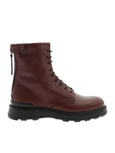 Woolrich - Burgundy hammered leather boots