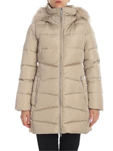 ADD - Quilted down jacket in beige with fur insert
