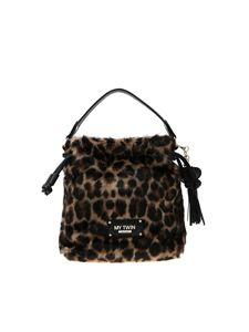 Twin-Set - Borsa a secchiello in eco pelliccia animalier