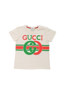 Gucci - T-shirt color crema con stampa GG
