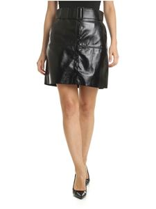MSGM - Black eco-leather skirt with belt and buttons