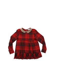 Monnalisa - Red blouse with tartan print