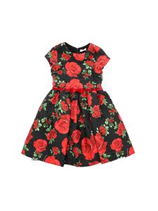 Monnalisa Chic - Black dress with red roses print