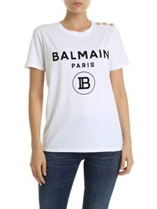 Balmain - White t-shirt with black flock logo