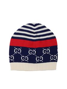 Gucci - White and blue beanie with GG pattern