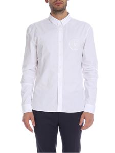 Balmain - White shirt with medallion logo embroidery