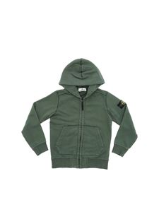Stone Island Junior - Dark green hooded sweatshirt