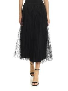 Red Valentino - Pleated skirt in black plumetis