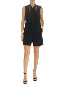 Red Valentino - Black jumpsuit with tulle insert and ruffles