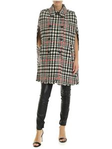 Red Valentino - Houndstooth cape in white and black
