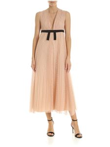 Red Valentino - Dress in powder pink plumetis with bow