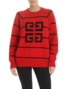 Givenchy - Red pullover with 4G logo inlay