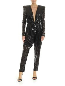 The Attico - Jumpsuit in black micro-sequins with maxi neckline