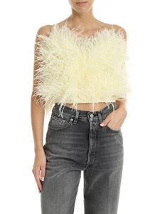 The Attico - Elsa top in yellow ostrich feathers
