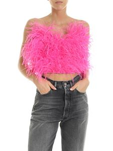 The Attico - Elsa top in fuchsia ostrich feathers