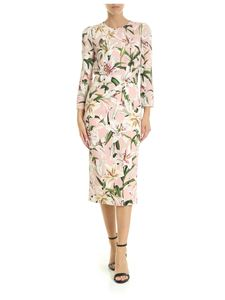 Dolce & Gabbana - Lilium printed sheath dress in powder pink color