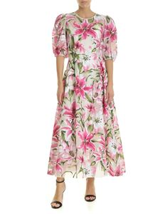 Dolce & Gabbana - Lilium printed organza dress in fuchsia