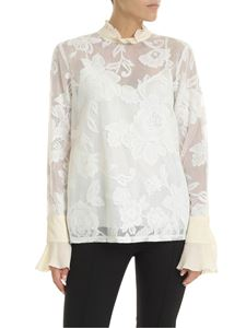 See by Chloé - Semitransparent blouse in ivory and white