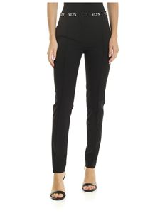 Valentino - Black trousers with VLTN strap