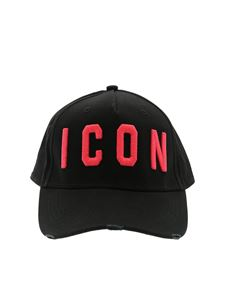 Dsquared2 - Black hat with Icon fuchsia embroidery