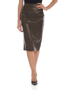 Rochas - Leather skirt in Army green