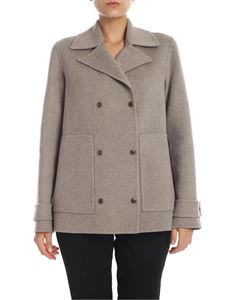 Theory - Double-breasted coat in beige melange