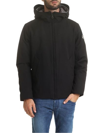 Riddle hooded down jacket in black