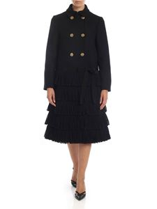 Red Valentino - Black double-breasted coat with fringe