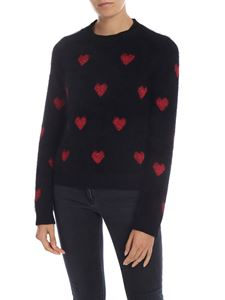 Red Valentino - Black pullover with lamè hearts motif