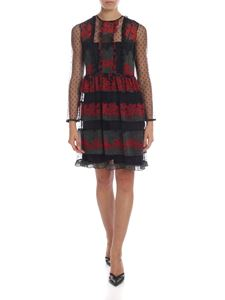 Red Valentino - Black dress with floral print and plumetis