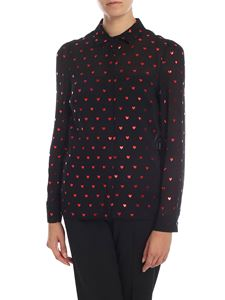 Red Valentino - Viscose and silk shirt in black with heart print