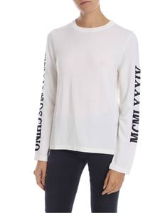 Moschino - Cream-colored pullover with logo intarsia