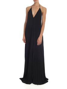 Dondup - Black pleated dress with jewel straps