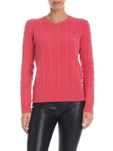 POLO Ralph Lauren - Cable knitted pullover in dark pink color