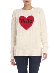 POLO Ralph Lauren - Cream-colored pullover with heart embroidery