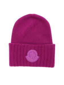 Moncler - Cyclamen-colored beanie with logo patch