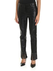 Philosophy di Lorenzo Serafini - Black eco-leather trousers with fringes