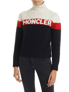 Moncler - Moncler embroidered pullover in blue red and white